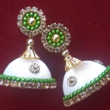 Sandal With Green Silk Thread Earrings