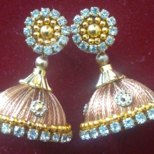 Silk thread Earrings Gold
