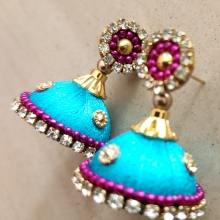 sea blue silk thread earrings
